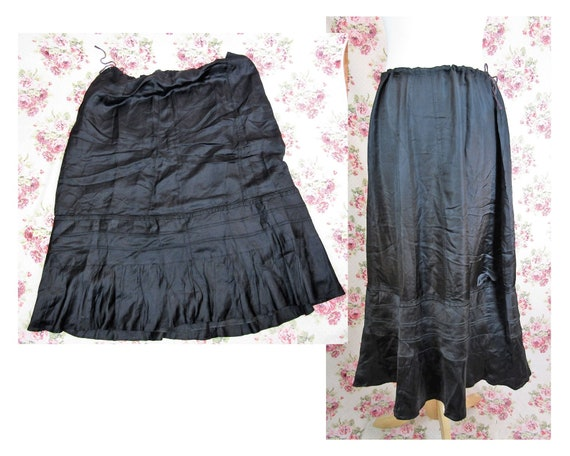 Antique Late Edwardian Black Silky Petticoat Size