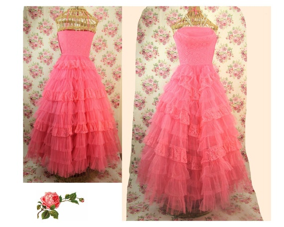 Vintage 1950s Prom Gown Size XS 1950's Pink Tulle