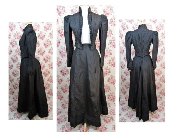 Victorian Walking Suit Size XXS Antique 1890's Bus