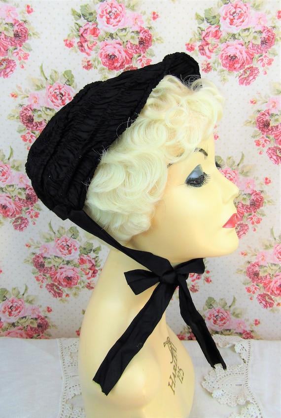 Antique Mourning Bonnet Antique Civil War Era Bon… - image 3