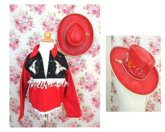 Vintage 50's Cowboy Costume Size M 1950's Child's