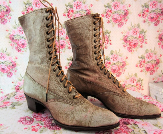 Edwardian Boots Victorian Boots  Antique Lace Up B