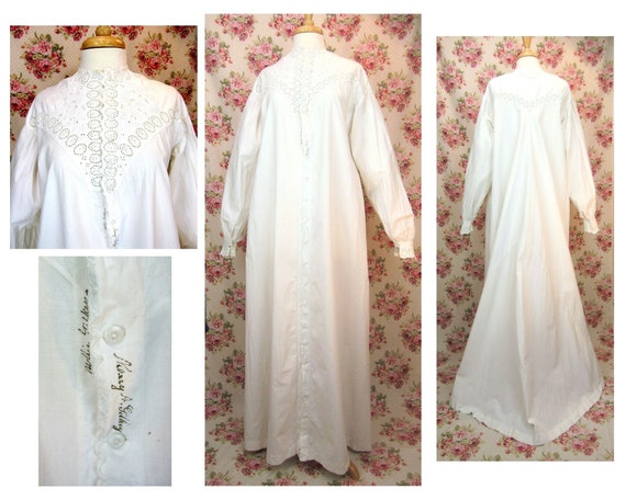 Antique Victorian Long Nightgown Size Small Antiqu