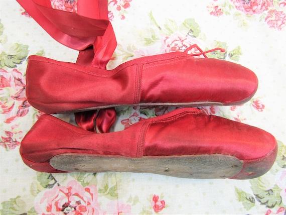 Vintage Ballet Shoes Vintage Red Satin Ballet Sho… - image 8