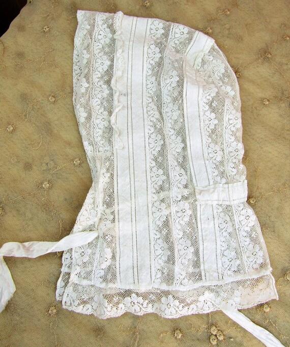 Antique Victorian Lace Bonnet Adult Size Victoria… - image 10