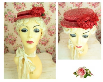 Vintage 1940s Red Flowered Hat Fits All Vintage Red Flowered Hat Red Mary Poppins Hat