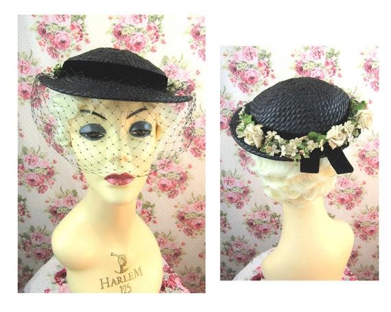 Vintage 1930's Flowered Straw hat Fits All Vintage