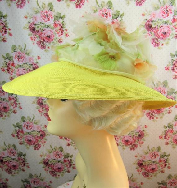 Vintage 1940w 40s Resort Hat 40s  Wide Brimmed St… - image 5