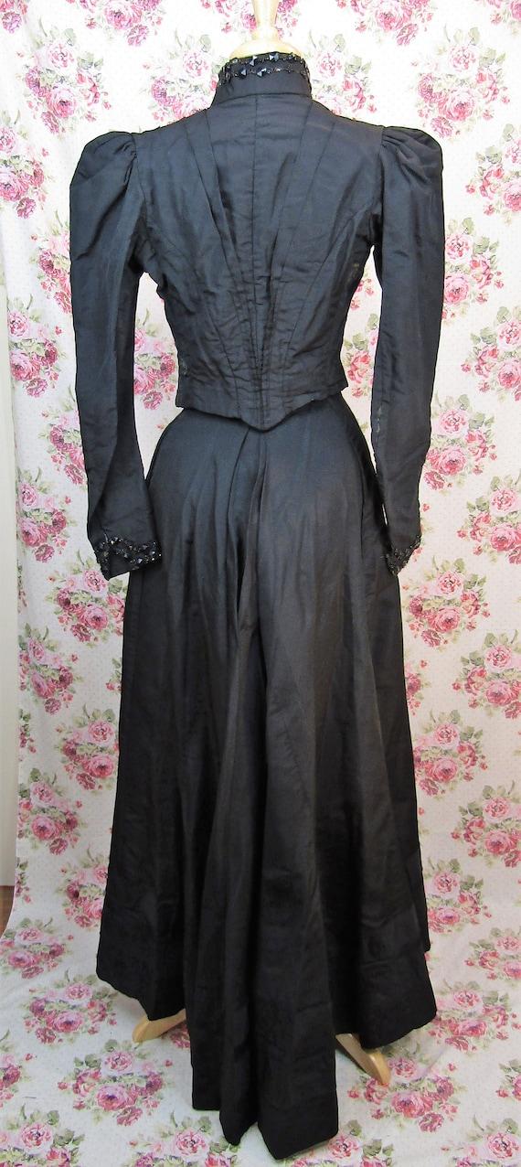Victorian Walking Suit Size XXS Antique 1890's Bu… - image 4