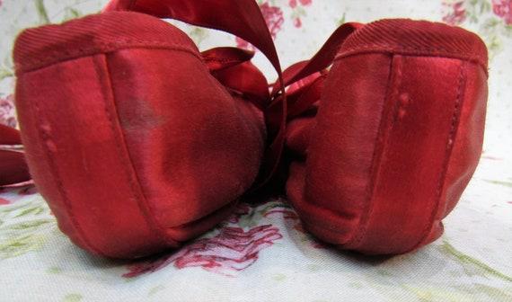 Vintage Ballet Shoes Vintage Red Satin Ballet Sho… - image 9