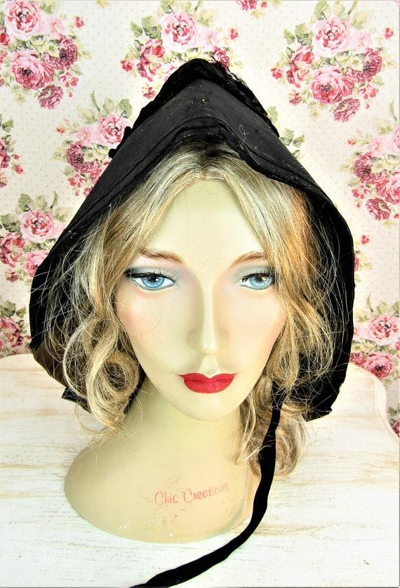 Antique 1800s Black Mourning Bonnet Antique Black… - image 2