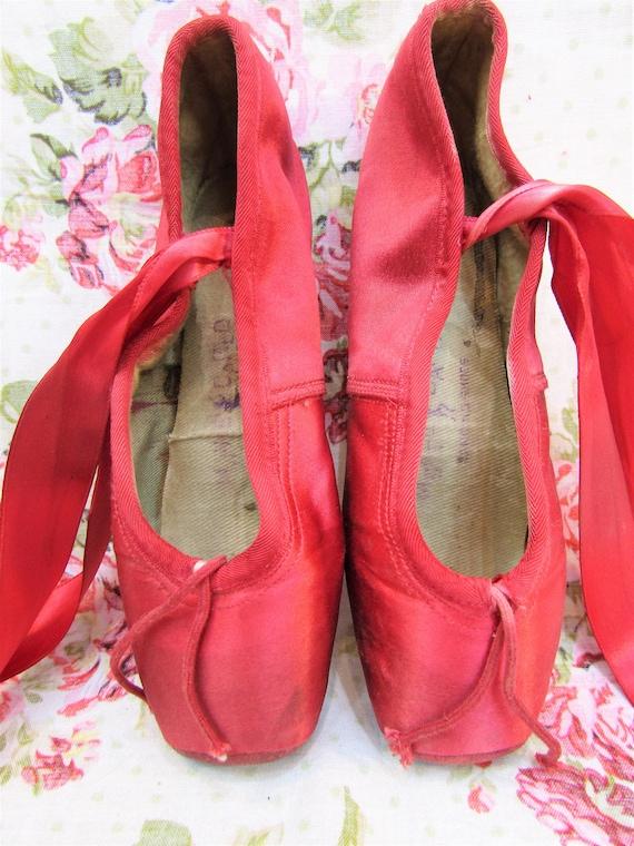 Vintage Ballet Shoes Vintage Red Satin Ballet Sho… - image 3