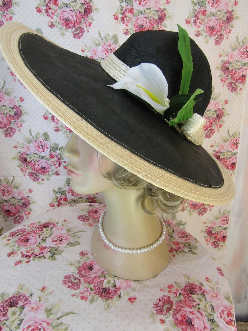 202c16c9376 Vintage 1950s hat Vintage Straw Hat Wide Brim Hat 1950s Hat