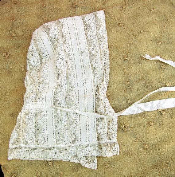 Antique Victorian Lace Bonnet Adult Size Victoria… - image 9