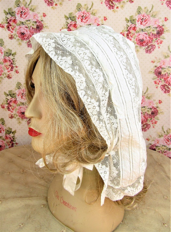 Antique Victorian Lace Bonnet Adult Size Victoria… - image 3