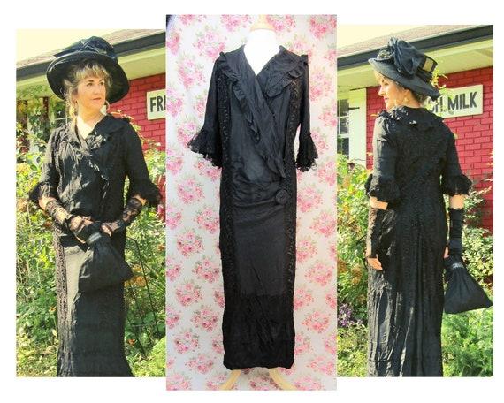 Antique Edwardian Black Silk Dress Size L Antique