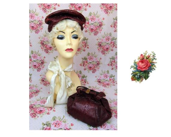 Vintage 1940s Hat & Matching Handbag Vintage 40's