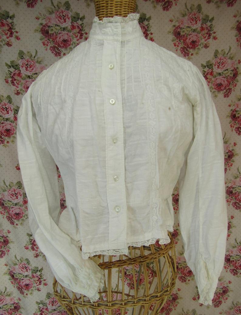 789f6a79641add Victorian Blouse Edwardian Blouse White Shirtwaist 1800s Top