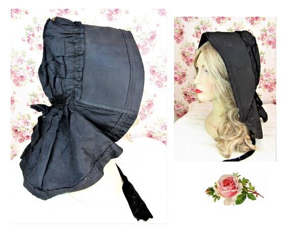 Antique 1800s Black Mourning Bonnet Antique Black… - image 1