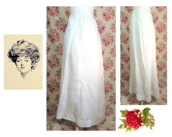 Antique Edwardian Skirt Size XS 1910's White Linen