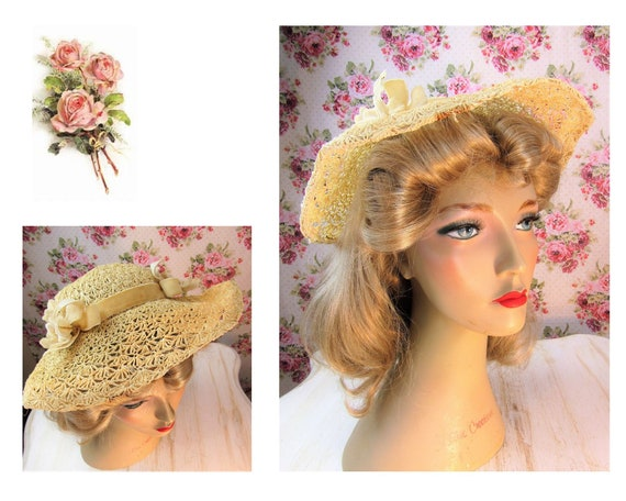 1930s Straw Hat Vintage 1930s Straw Hat with Fabri