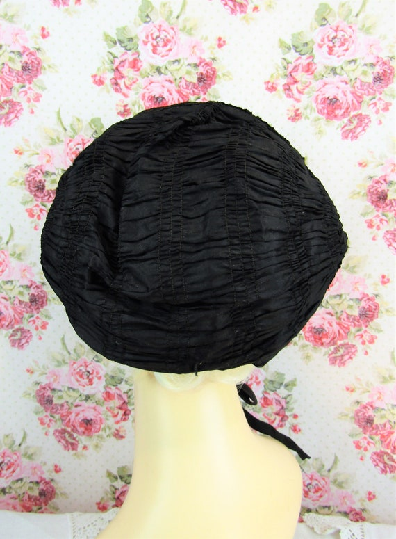 Antique Mourning Bonnet Antique Civil War Era Bon… - image 6
