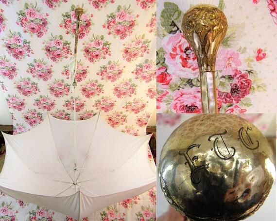 Edwardian Parasol Antique Gold Topped Parasol Edwa