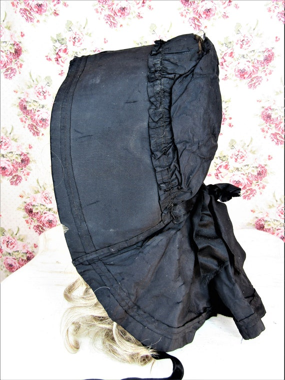 Antique 1800s Black Mourning Bonnet Antique Black… - image 6