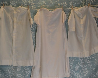 Trio of Vintage Handmade Baby Gowns