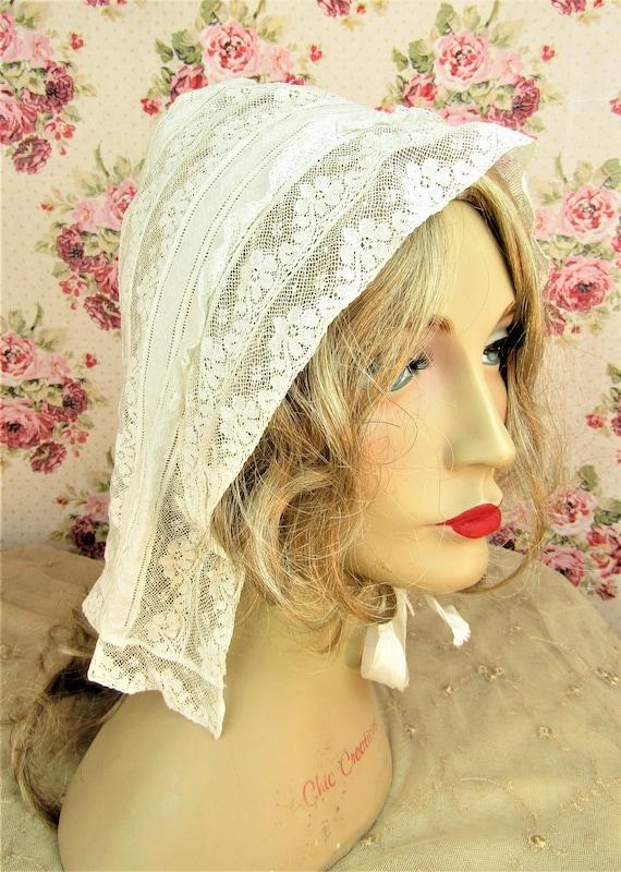 Antique Victorian Lace Bonnet Adult Size Victoria… - image 7