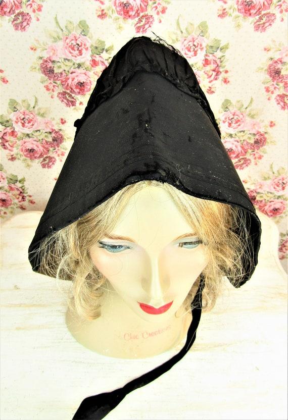 Antique 1800s Black Mourning Bonnet Antique Black… - image 3