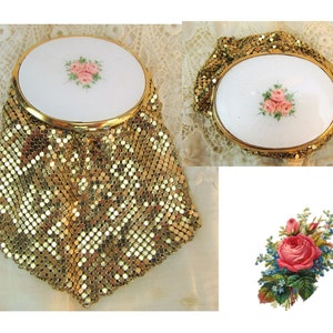1930s Guilloche Compact Purse Gold Mesh Purse Powder Rouge and Mirror Compact Art Deco Dance Purse Excellent Condition