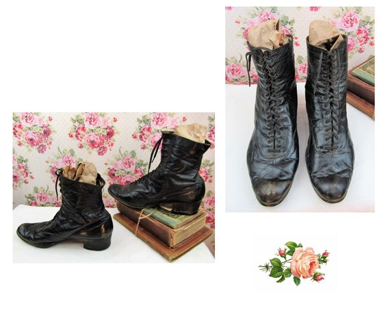 Antique Victorian High Top Boots Size 8US Large Si
