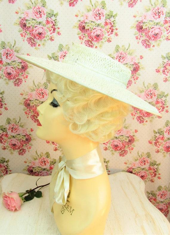 Vintage 1930s Wide Brim Straw Hat Most Vintage 19… - image 7