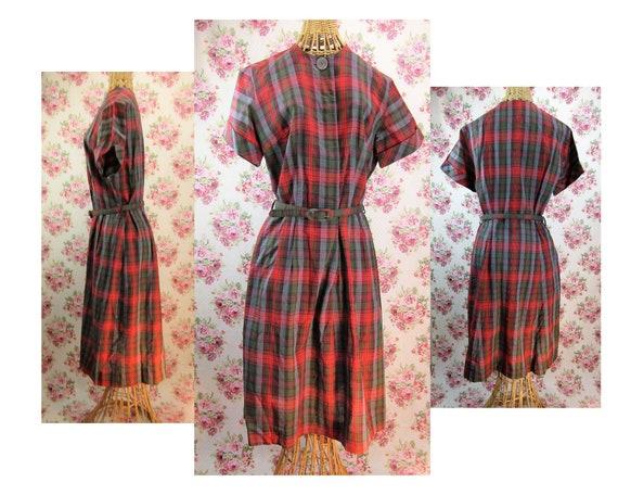 Vintage 1950s Plaid Dress Size M Vintage Plaid Pri