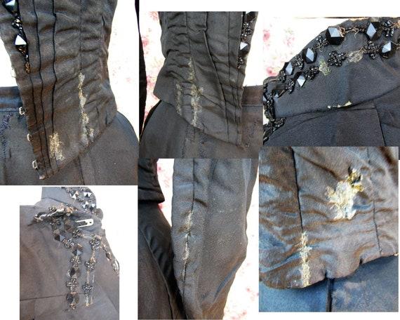 Victorian Walking Suit Size XXS Antique 1890's Bu… - image 6