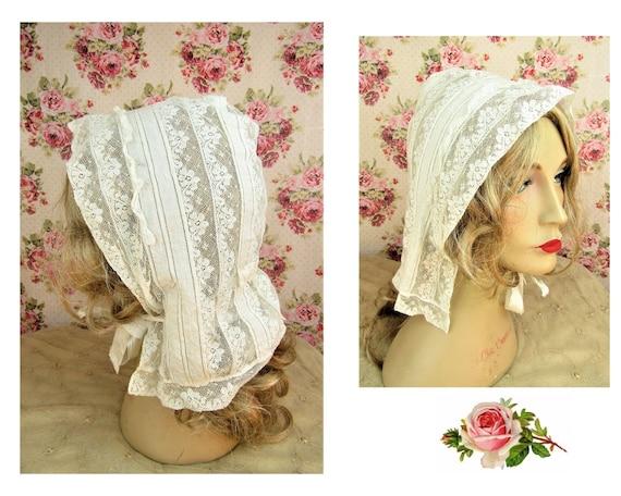 Antique Victorian Lace Bonnet Adult Size Victoria… - image 1