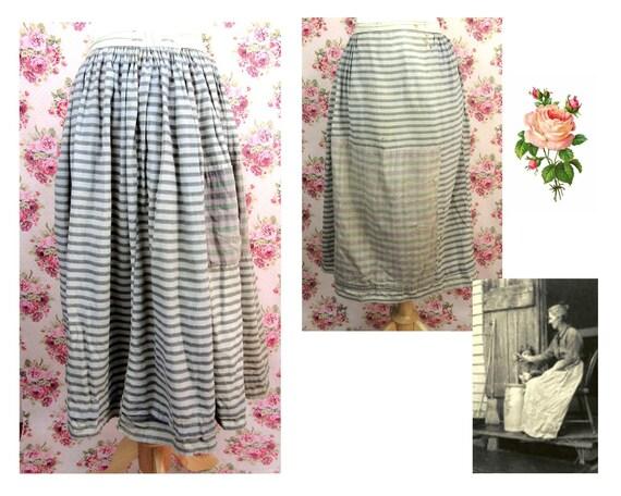 Antique 1800's Homespun Skirt Size Large Antique P