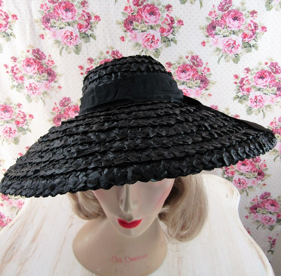 Vintage 1930s 30s Straw Picture Hat Vintage 30s C… - image 5