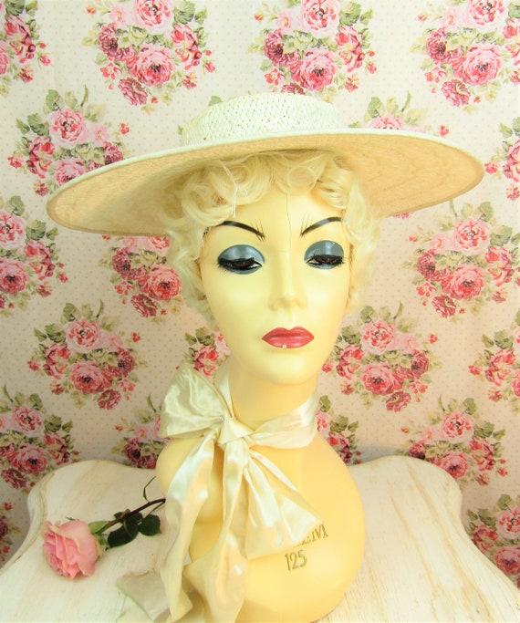 Vintage 1930s Wide Brim Straw Hat Most Vintage 19… - image 4