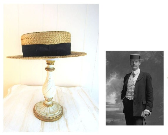 Edwardian Mens Straw Hat Size Small 6.5 to 7  1900