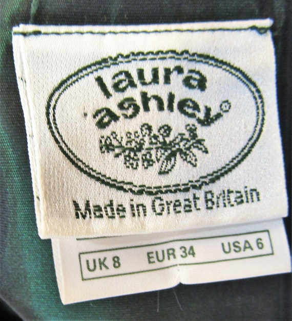 Vintage Laura Ashley Dress Size XS Vintage Green … - image 10