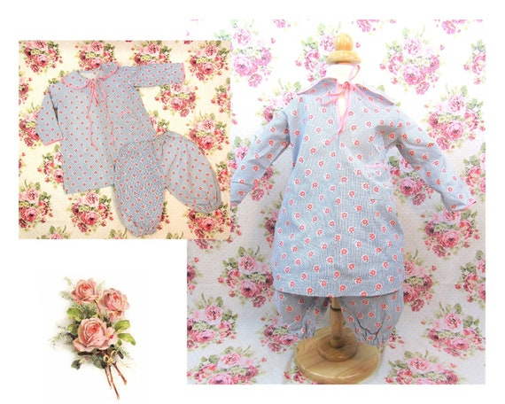 Vintage 1930's Feed Sack Baby Outfit Size 12 mos