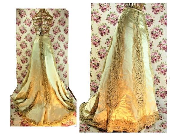 "Antique Victorian Evening Skirt 26"" Waist Victoria"