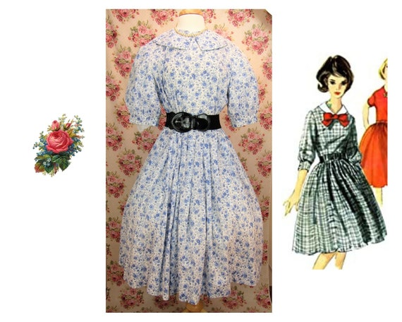 Vintage 1950s Full Skirt Dress Size L Vintage Full