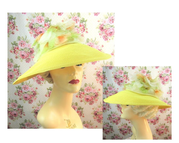 Vintage 1940w 40s Resort Hat 40s  Wide Brimmed Str