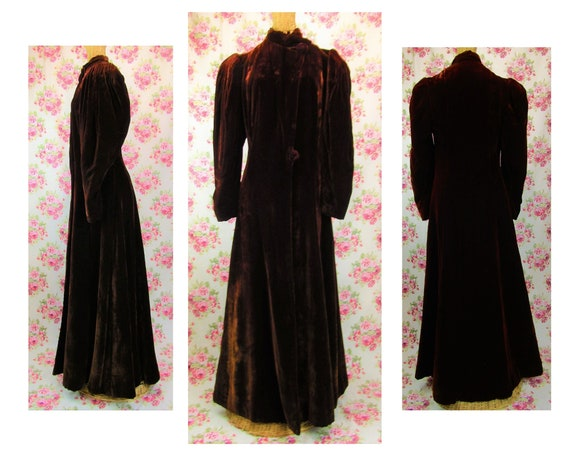 1930s Long Velvet Princess Coat Size S Vintage 30s