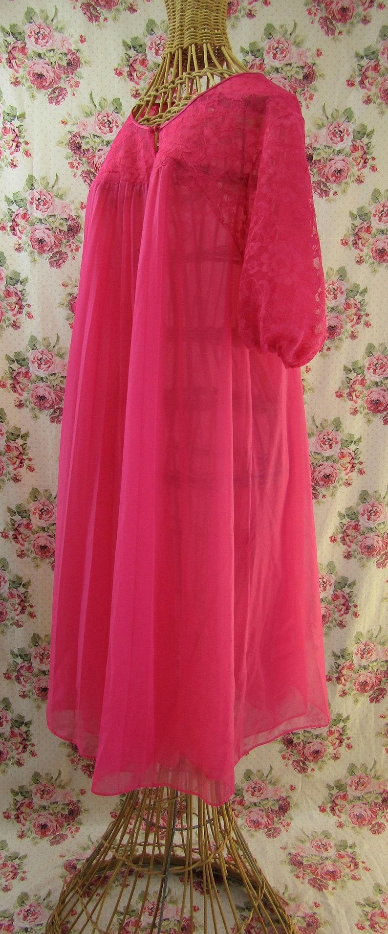 Vintage Negligee Sheer Peignoir Sheer Pink Peignoir Vintage Housecoat Sheer Robe Size Small Vanity Fair
