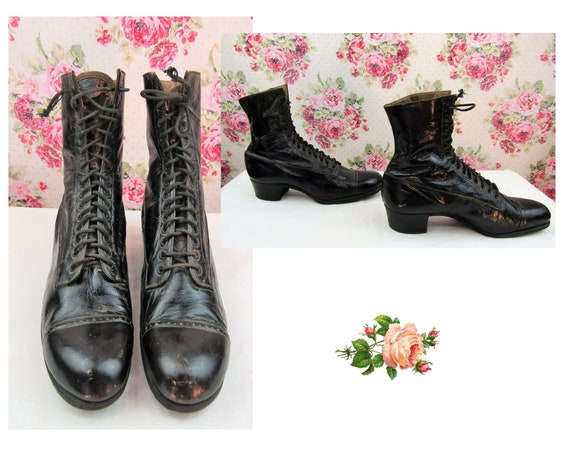 Antique Victorian High Top Boots Size 5-6N US Anti