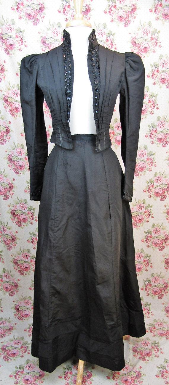 Victorian Walking Suit Size XXS Antique 1890's Bu… - image 2